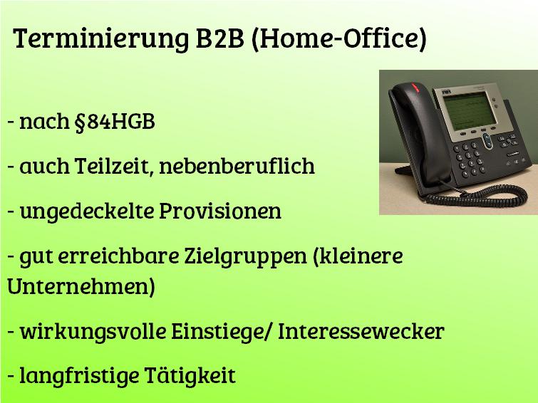 bundesweit – tel. Terminierung B2B (Home-Office)
